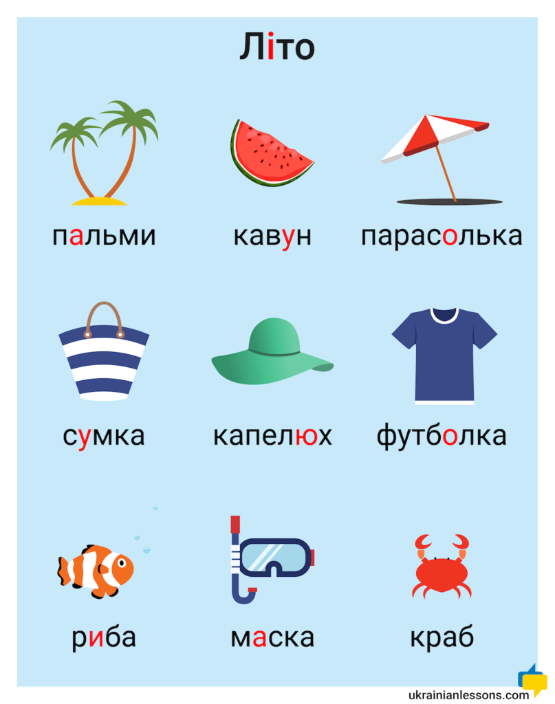 summer vocabulary in Ukrainian
