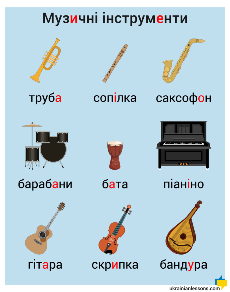 musical instruments in Ukrainian