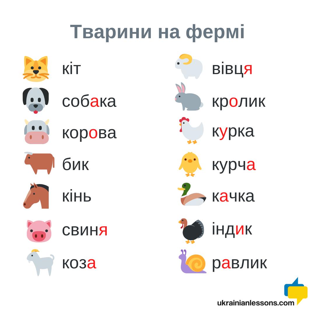 farm animals in Ukrainian