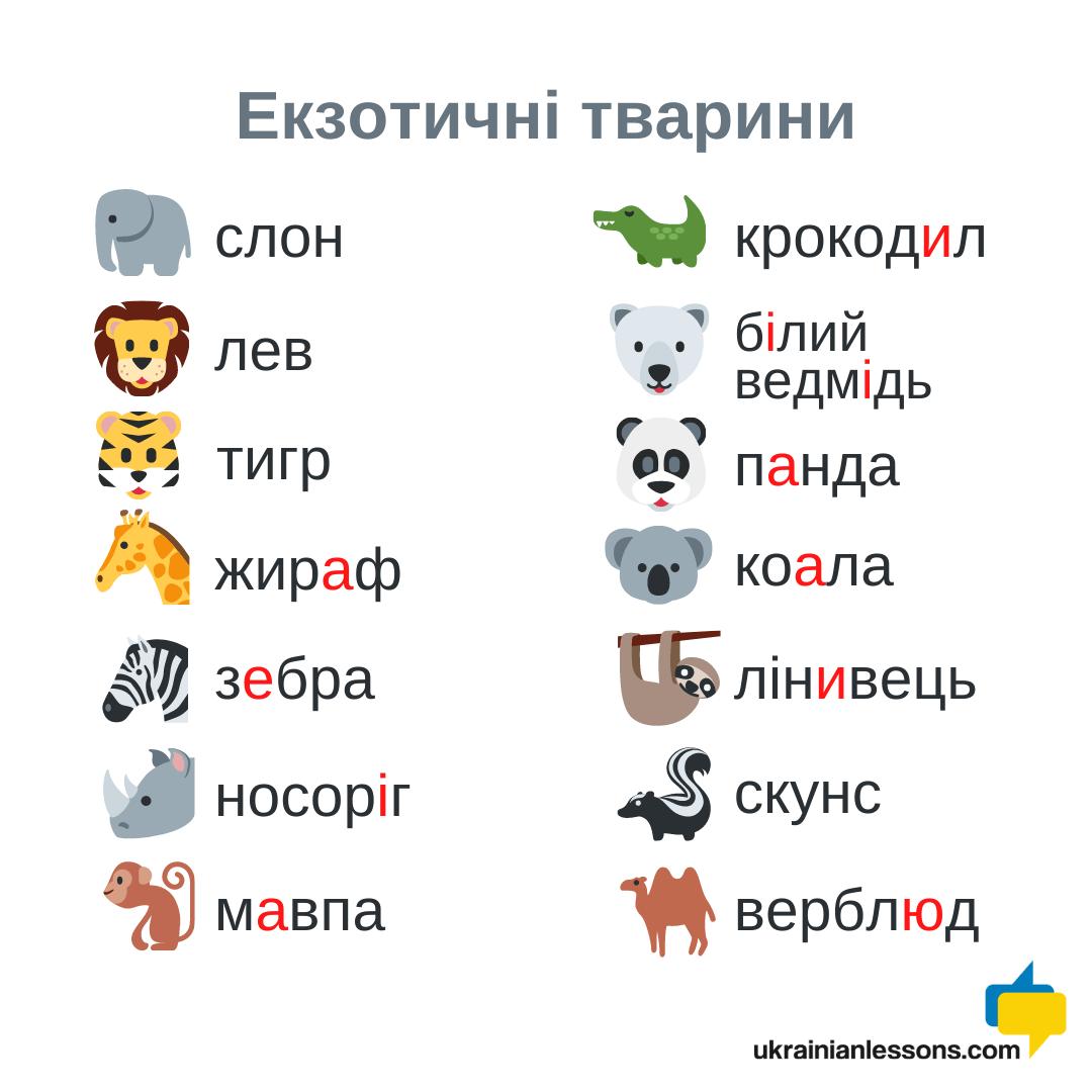 exotic animals in Ukrainian
