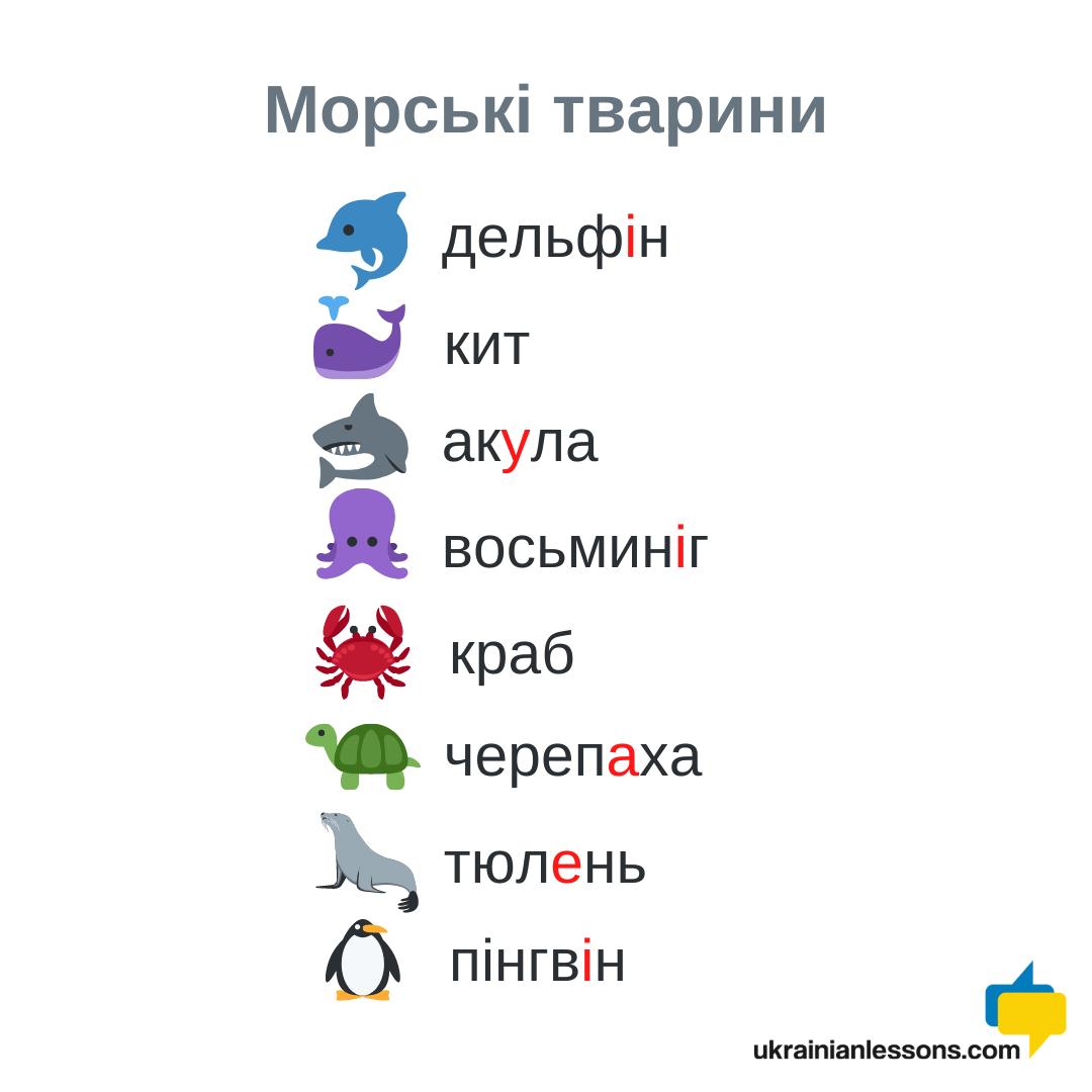 sea animals in Ukrainian